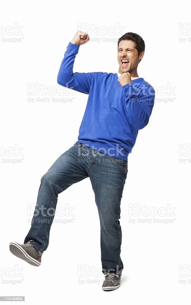 Excited Young Man - Isolated stock photo