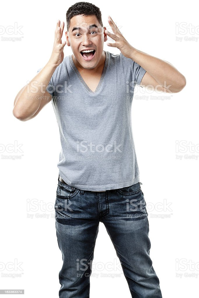 Excited Young Man Standing stock photo