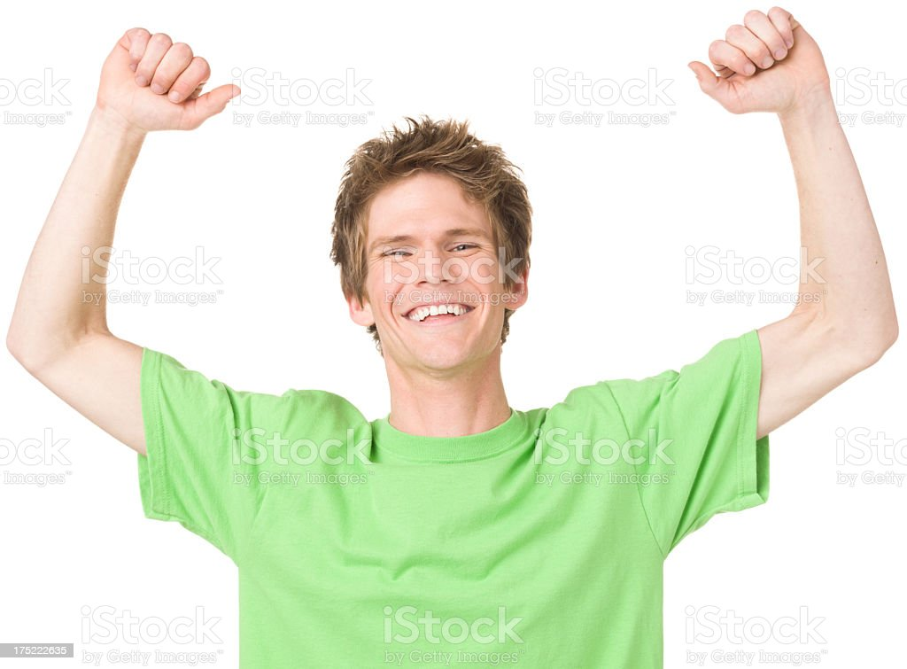 Excited Young Man With Arms Up royalty-free stock photo