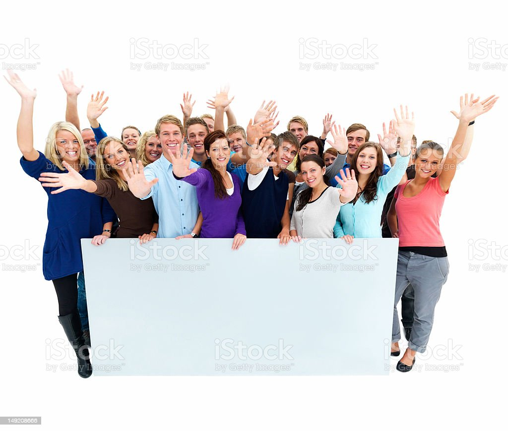 Excited young men and women with placard royalty-free stock photo