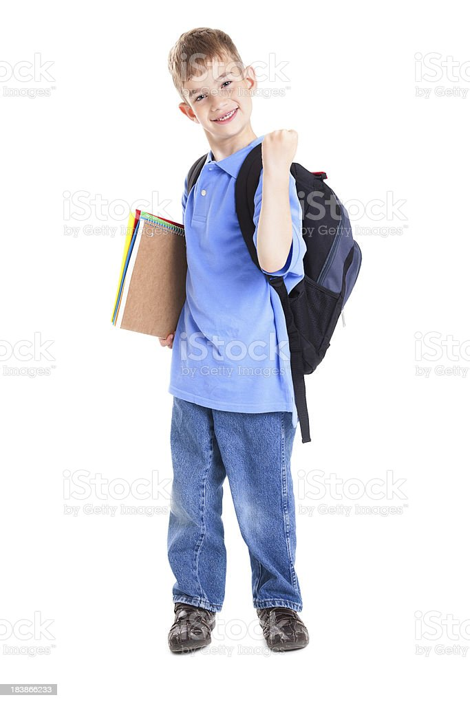 Excited Young School Student Standing With Bag and Folders royalty-free stock photo