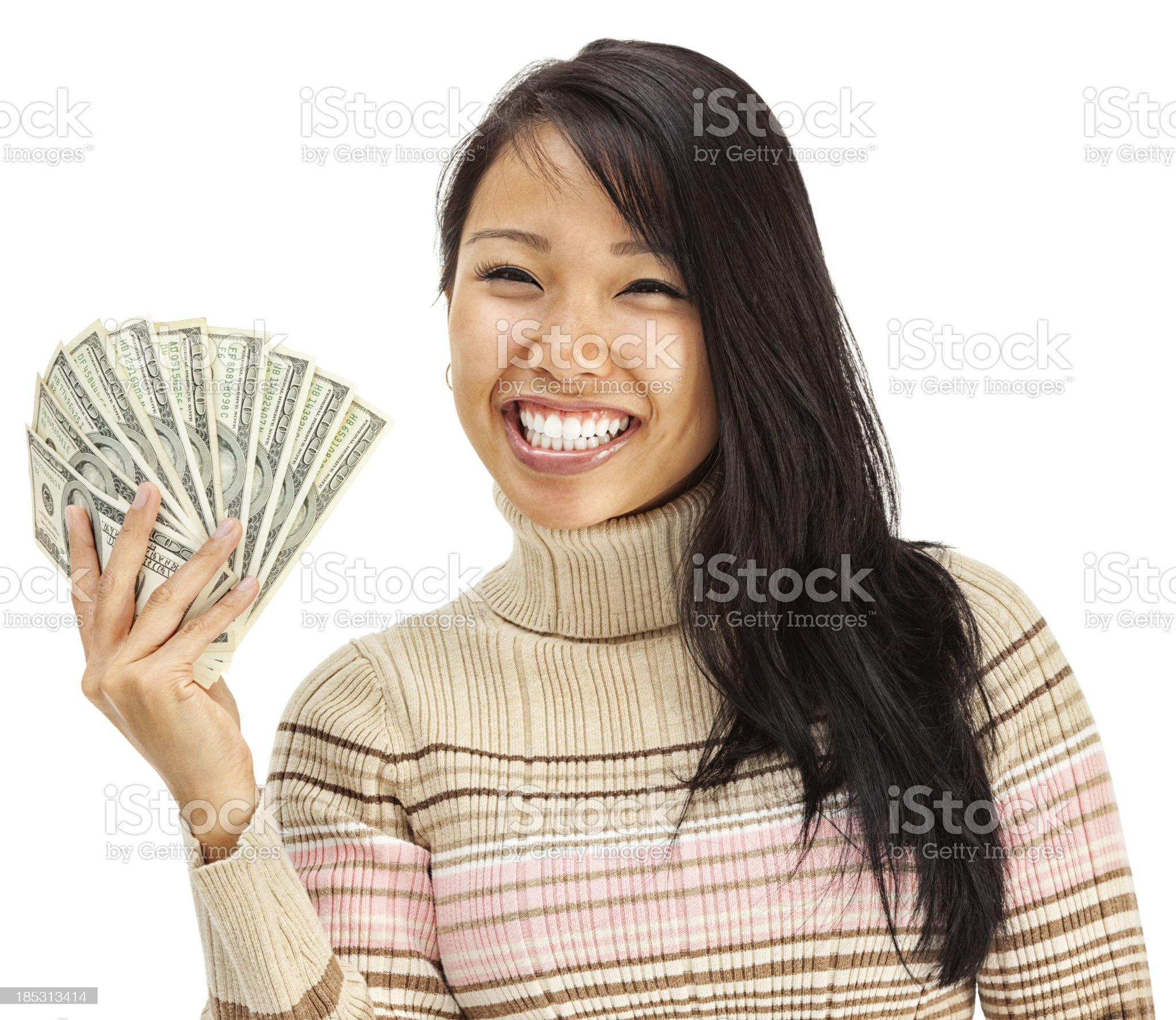 Excited Young Woman Asian Holding Cash Money royalty-free stock photo