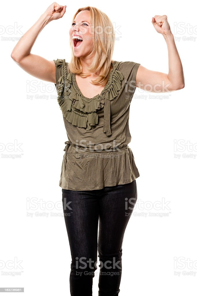 Excited Young Woman Cheering royalty-free stock photo