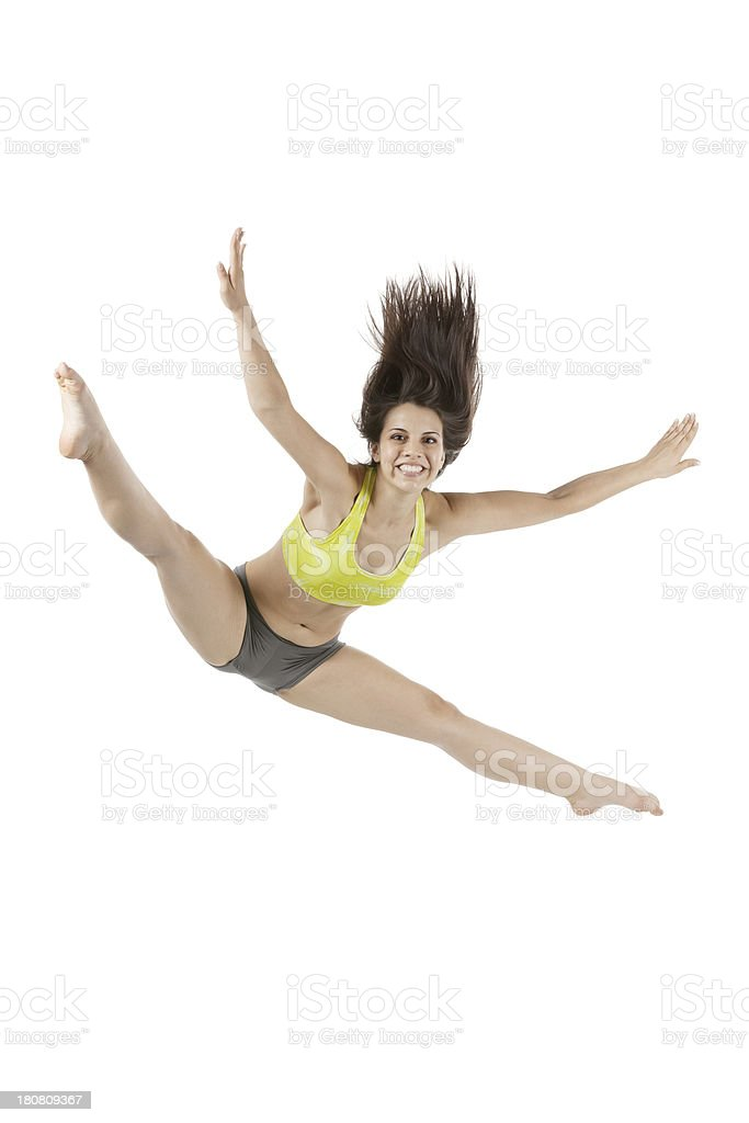 Excited young woman jumping royalty-free stock photo