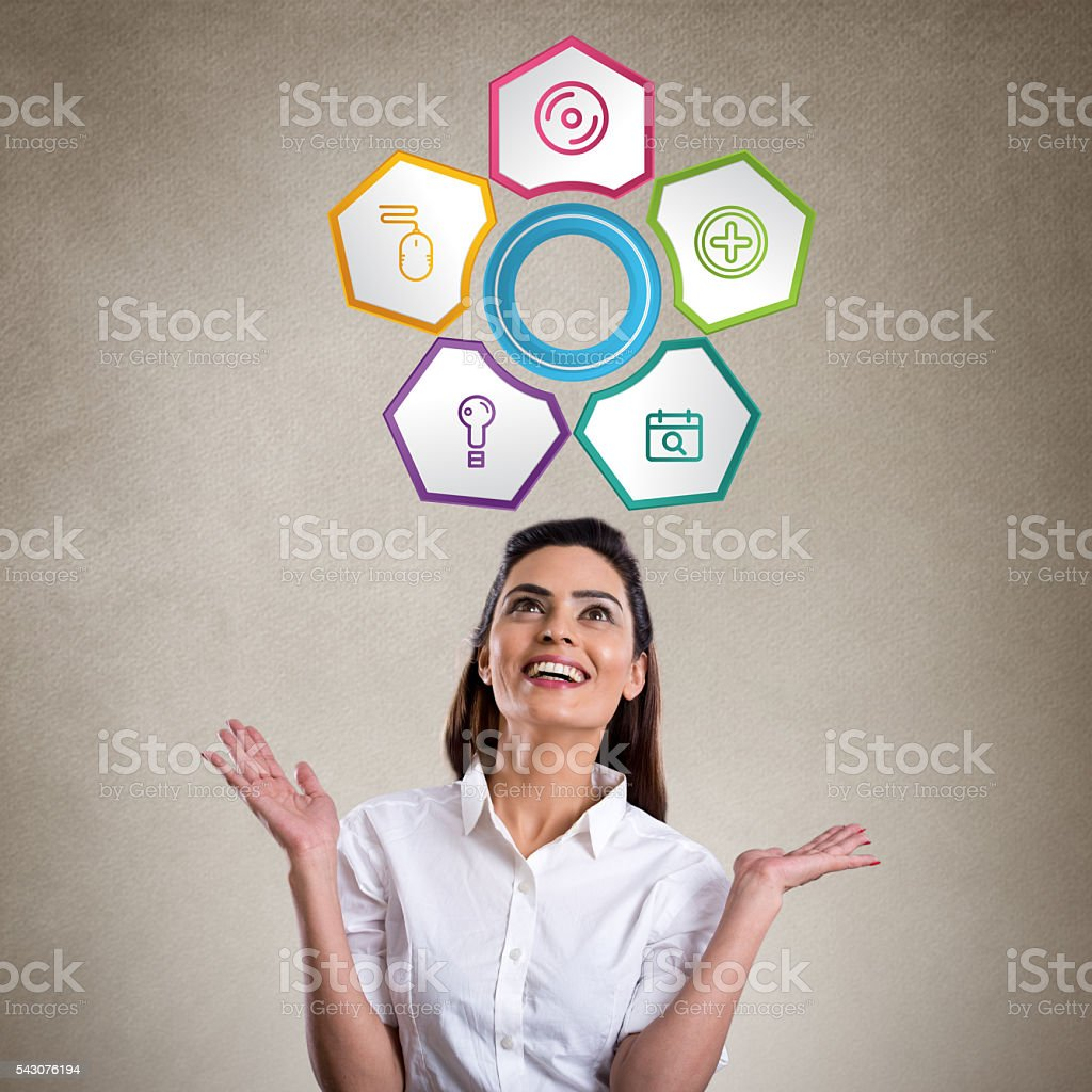 Excited young woman looking Inforgraphic elements stock photo