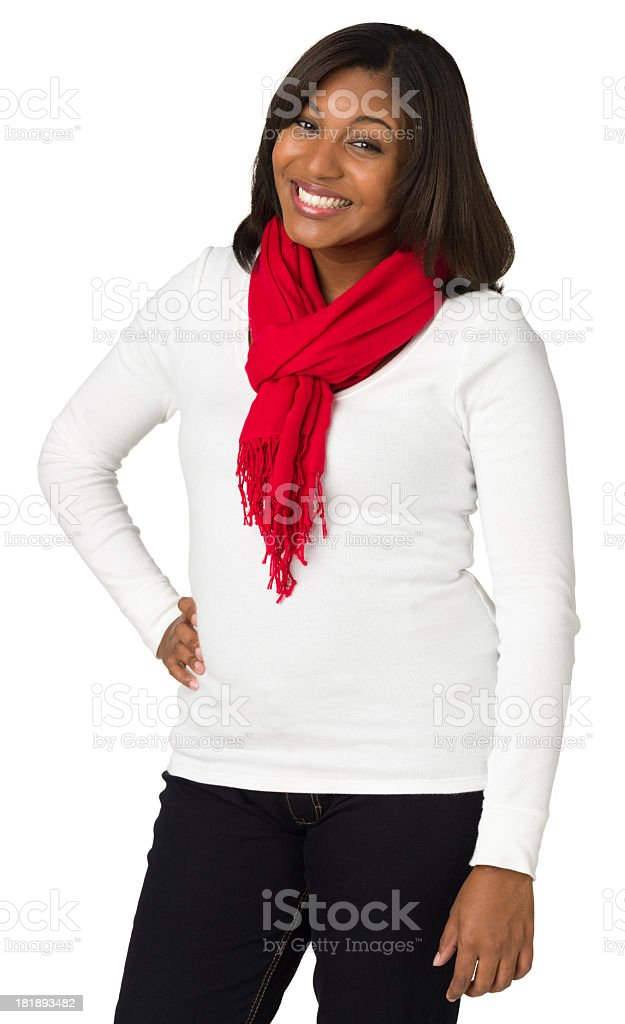 Excited Young Woman Posing, Hand On Hip, Three-Quarter Length royalty-free stock photo