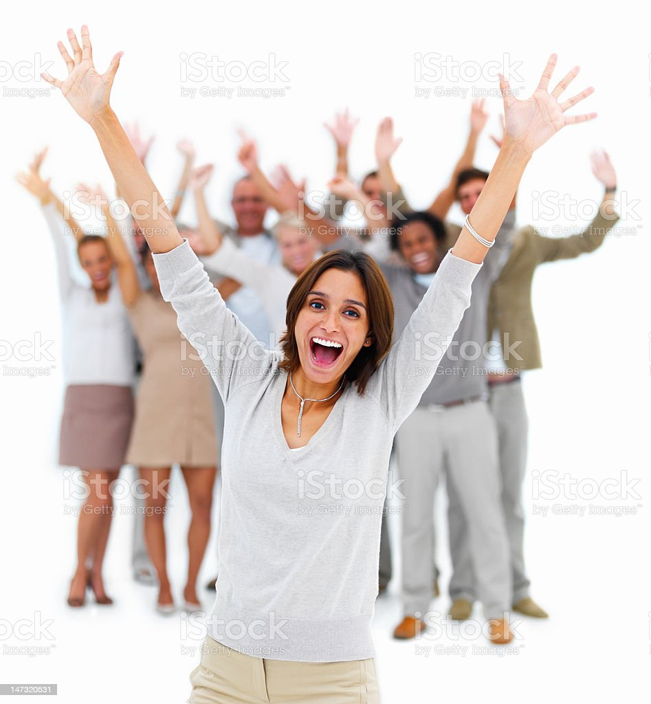 Excited young woman shouting royalty-free stock photo