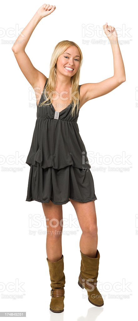 Excited Young Woman With Arms Up royalty-free stock photo