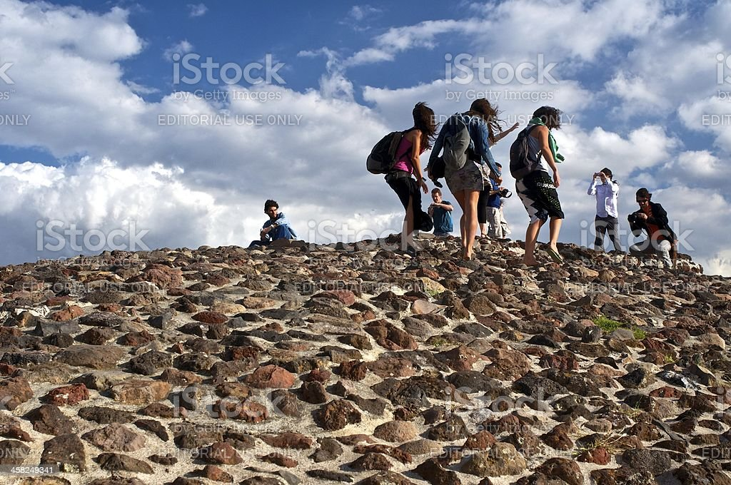 Excitement on the top of Sun pyramid royalty-free stock photo