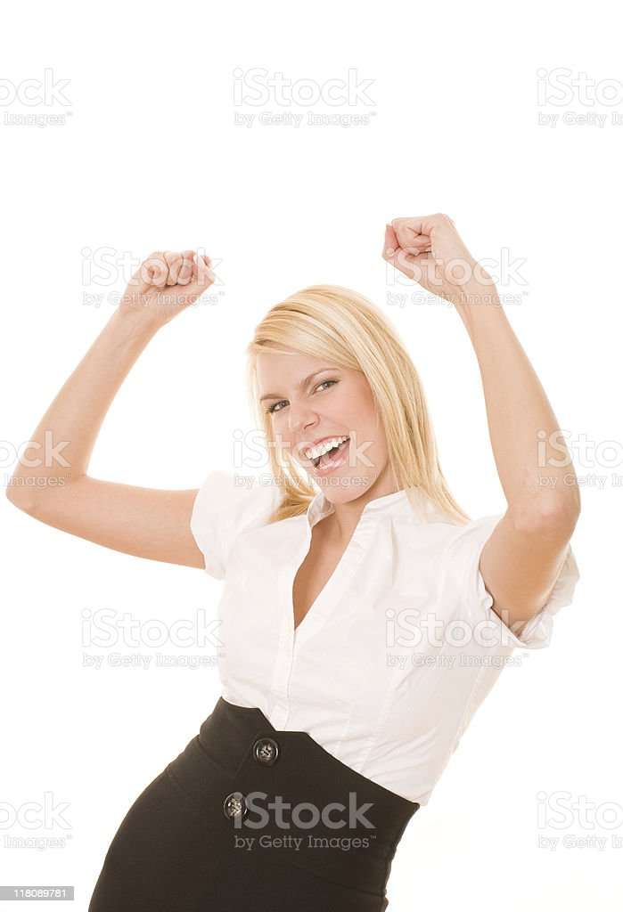Exciting businesswoman royalty-free stock photo