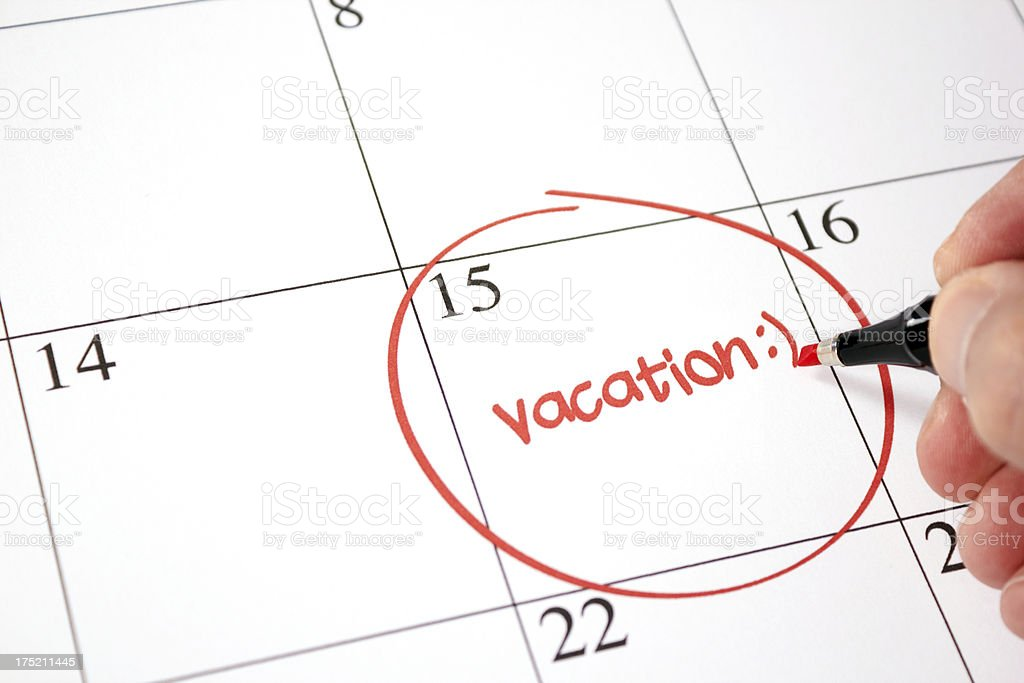 Exciting vacation day approaching stock photo