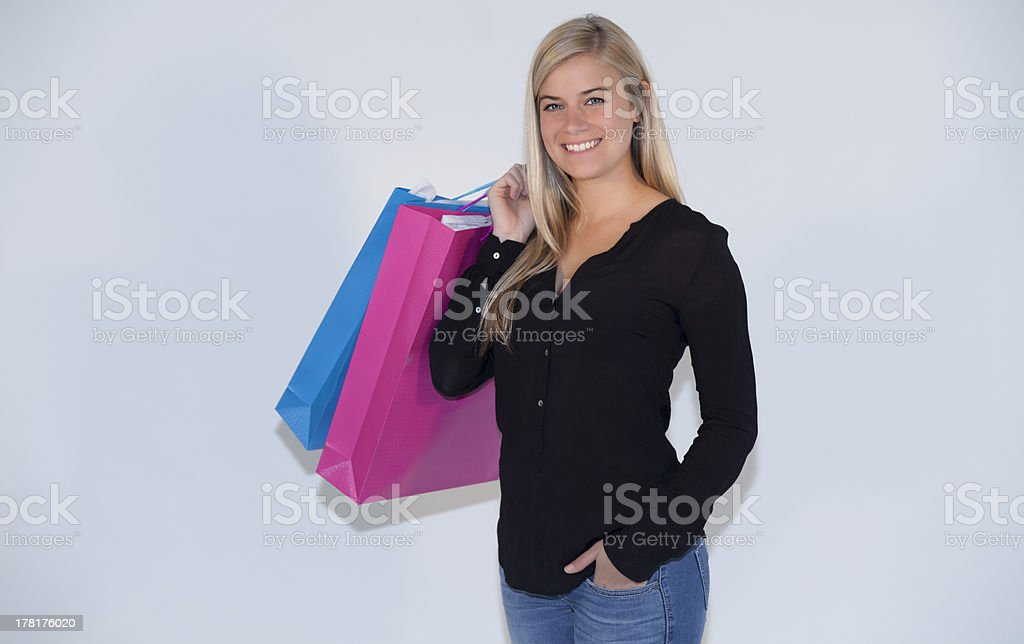Exciting young woman Shopping royalty-free stock photo
