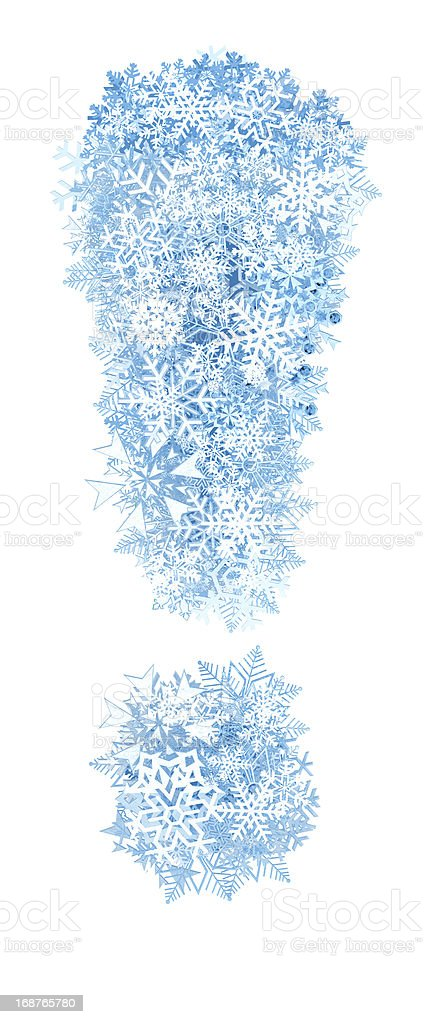 Exclamation , frosty snowflakes royalty-free stock photo