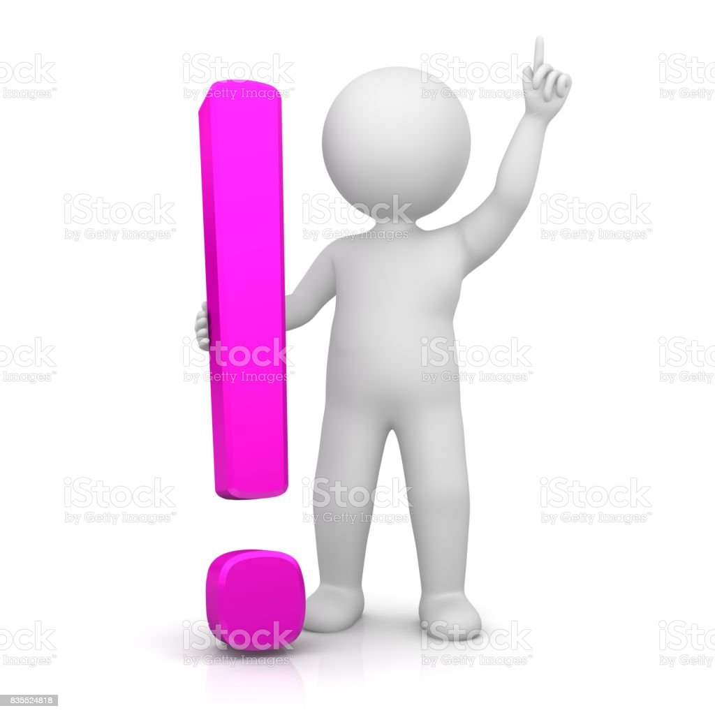 exclamation mark 3d pink exclamation point punctuation mark with standing stick man in victory pose pointing up isolated on white background stock photo
