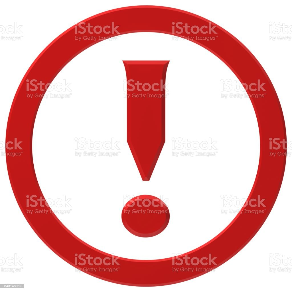 exclamation mark 3d red exclamation point isolated on white stock photo