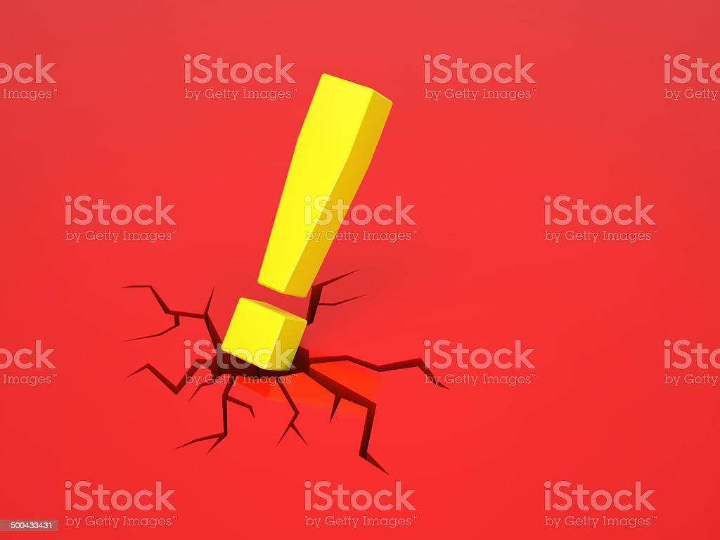 Exclamation mark causes a crack on red surface stock photo