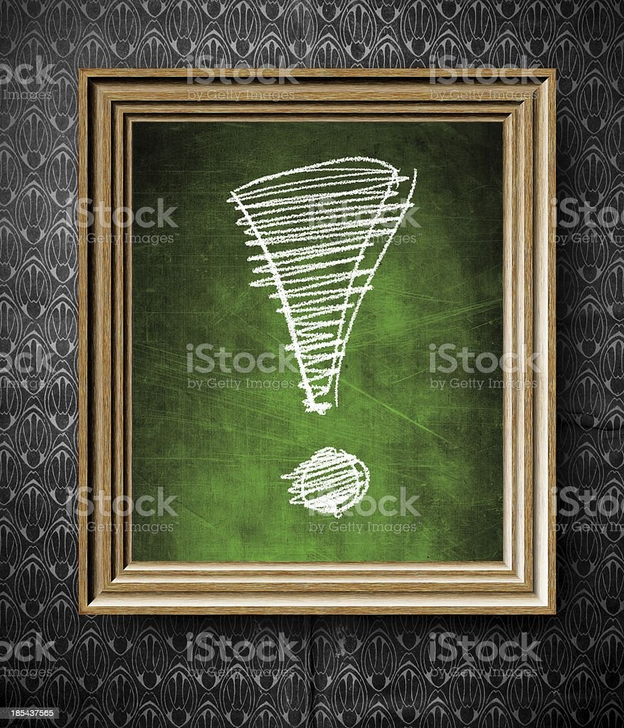 Exclamation mark chalkboard in old wooden frame royalty-free stock photo