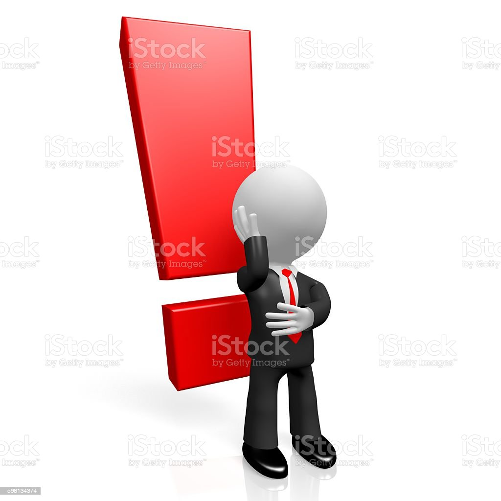 3D exclamation mark (!) concept stock photo