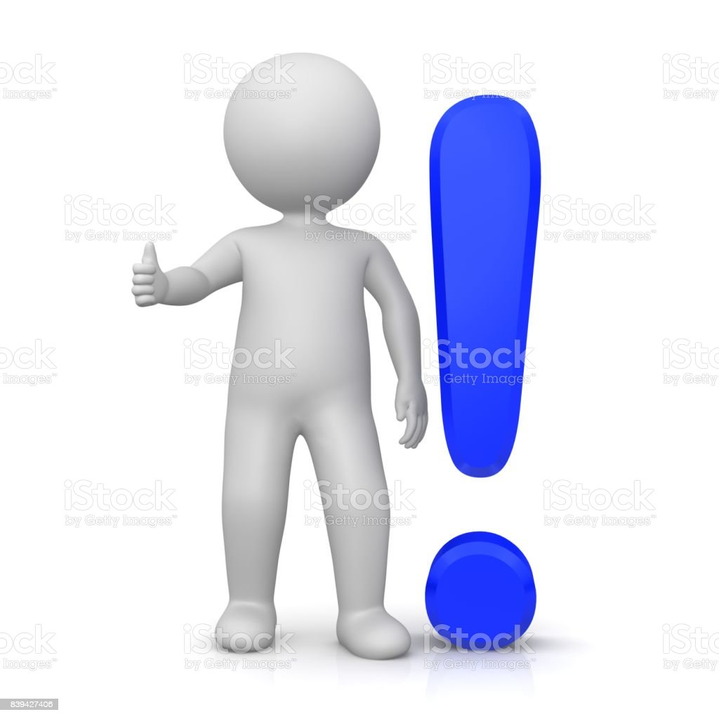 exclamation mark exclamation point 3d blue stick man thumbs up ok stock photo