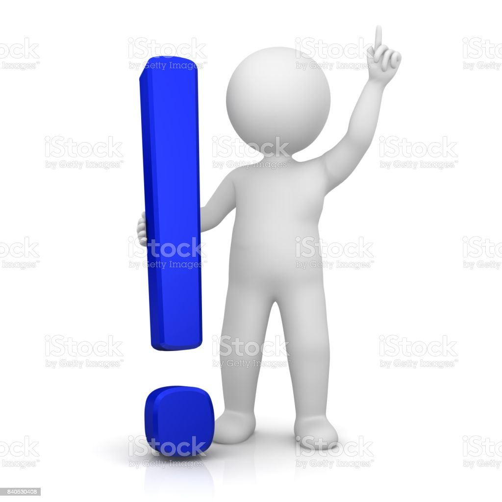 exclamation mark exclamation point 3d blue with stick man pointing up hand up isolated on white stock photo