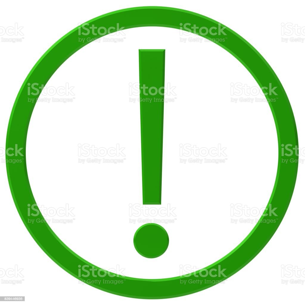 exclamation mark exclamation point 3d green isolated punctuation mark stock photo