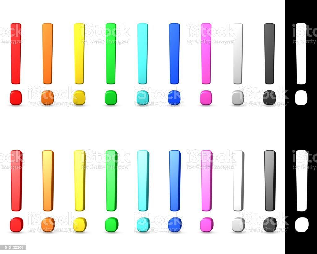 exclamation mark exclamation point 3d isolated with alpha mask red orange yellow green turquoise blue pink silver black stock photo