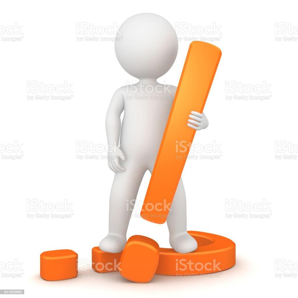 exclamation mark exclamation point 3d orange stick man punctuation mark isolated on white stock photo