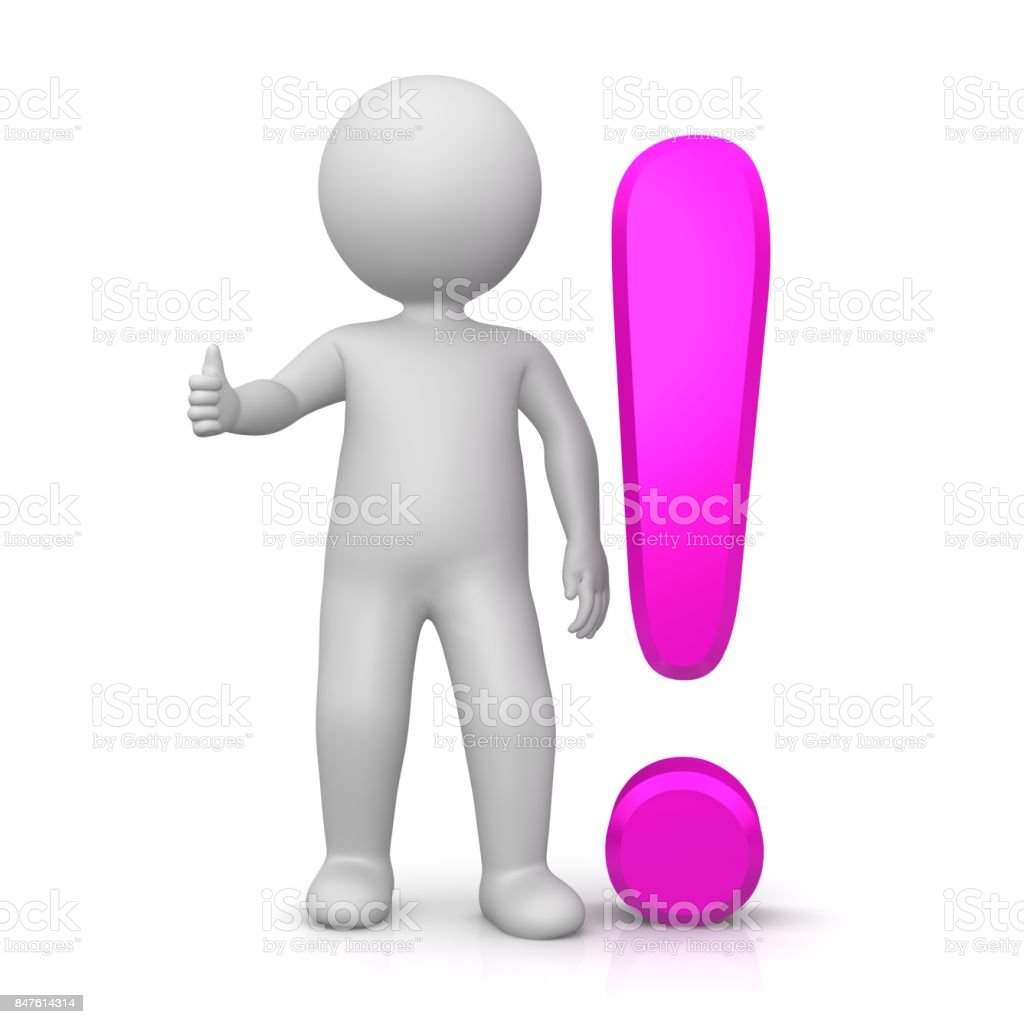 exclamation mark exclamation point green 3d with stick man showing thumbs up OK gesture or pose isolated on white stock photo