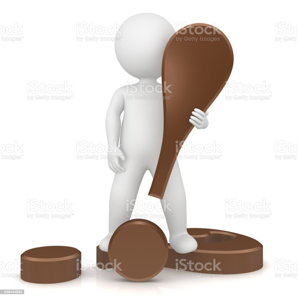 exclamation mark exclamation point question mark 3d brown stick man stock photo