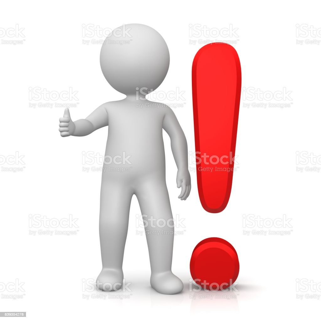 exclamation mark exclamation point red 3d stick man shows thumbs up ok stock photo