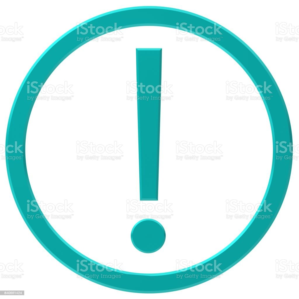 exclamation mark exclamation point turquoise cyan 3d isolated stock photo