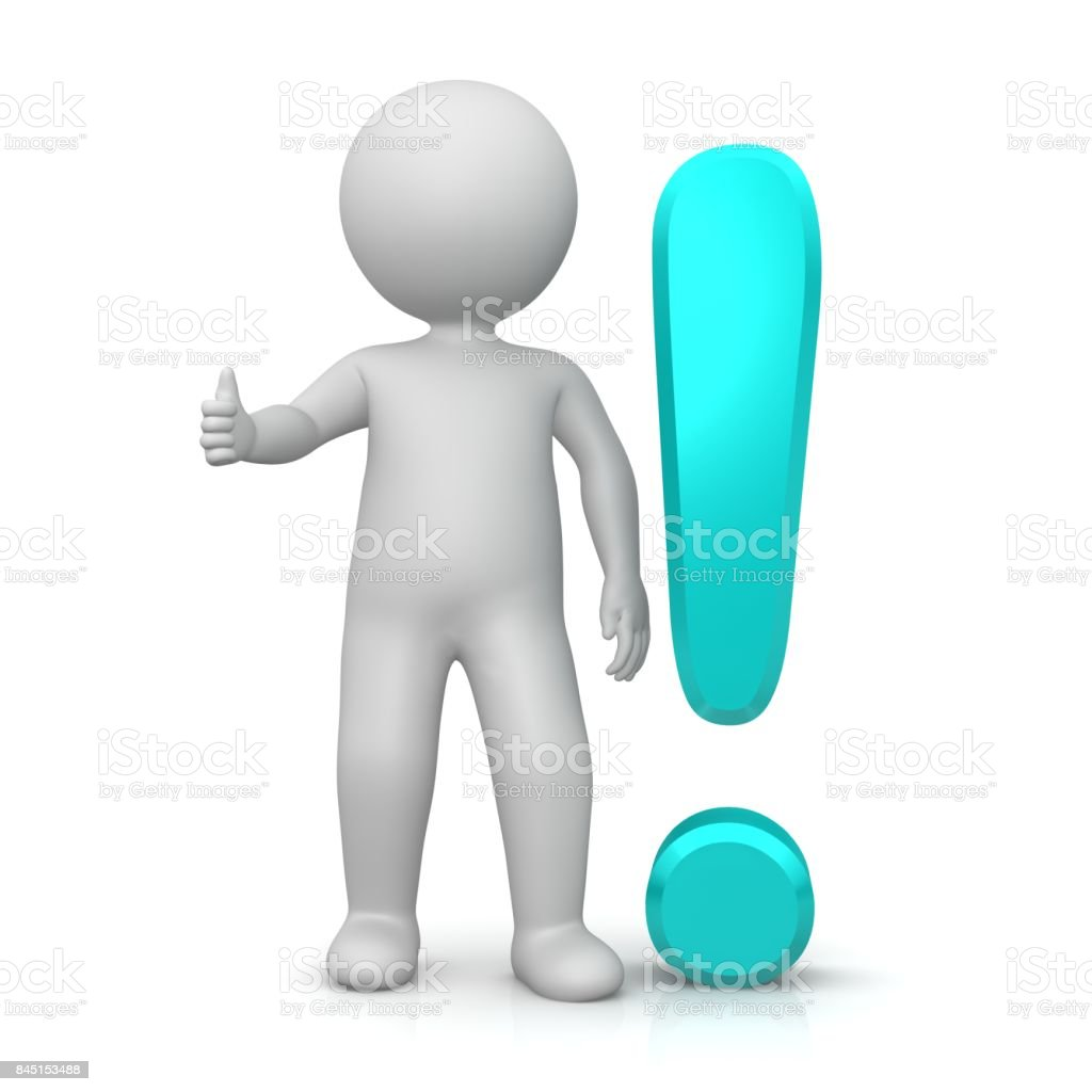 exclamation mark exclamation point turquoise cyan 3d with stick man showing thumbs up OK gesture or pose isolated on white stock photo