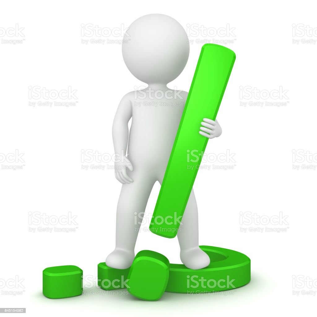 exclamation mark green exclamation point question mark 3d standing stick man isolated on white stock photo