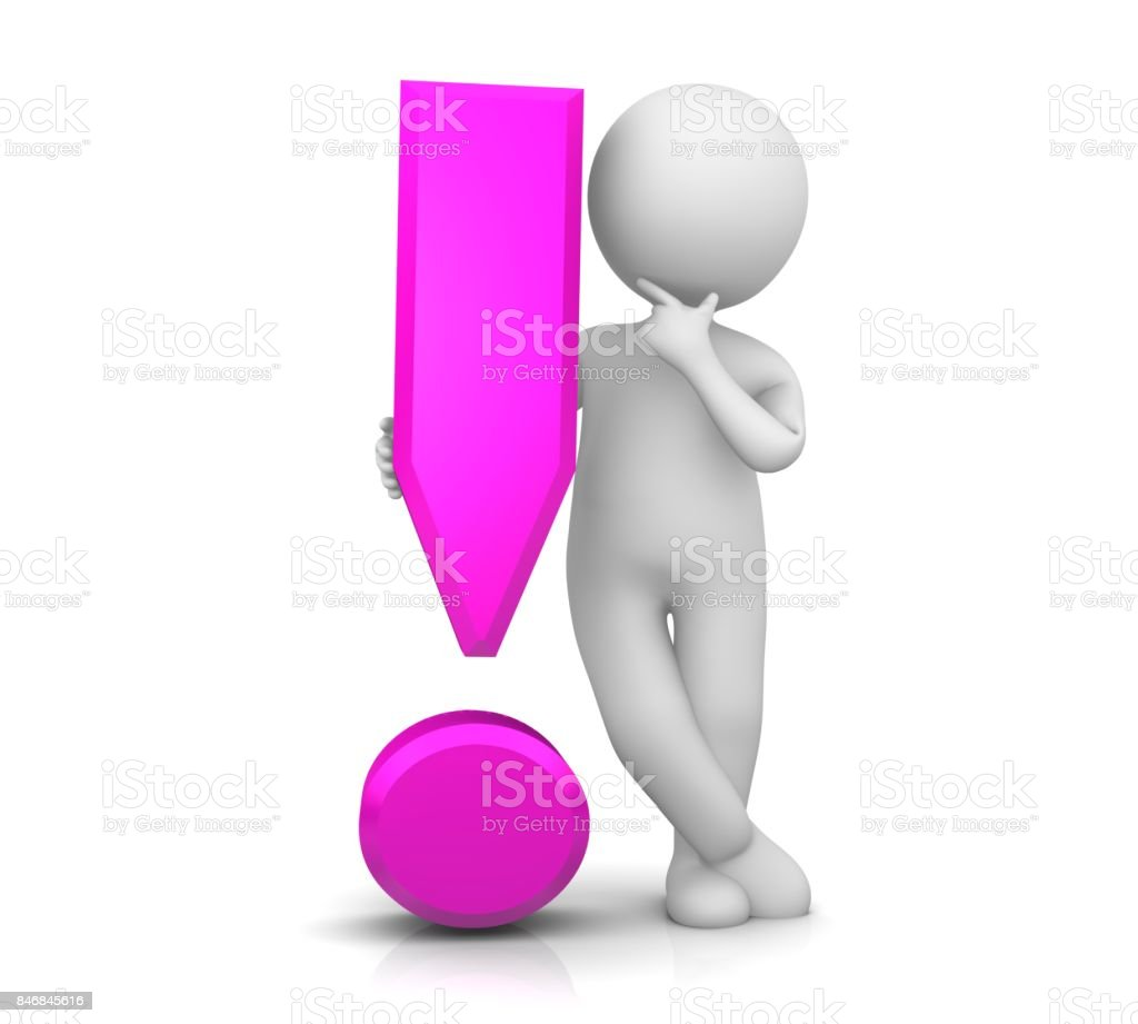 exclamation mark pink 3d exclamation point attention sign warning symbol with thinking relaxing stick man solving problems isolated on white stock photo