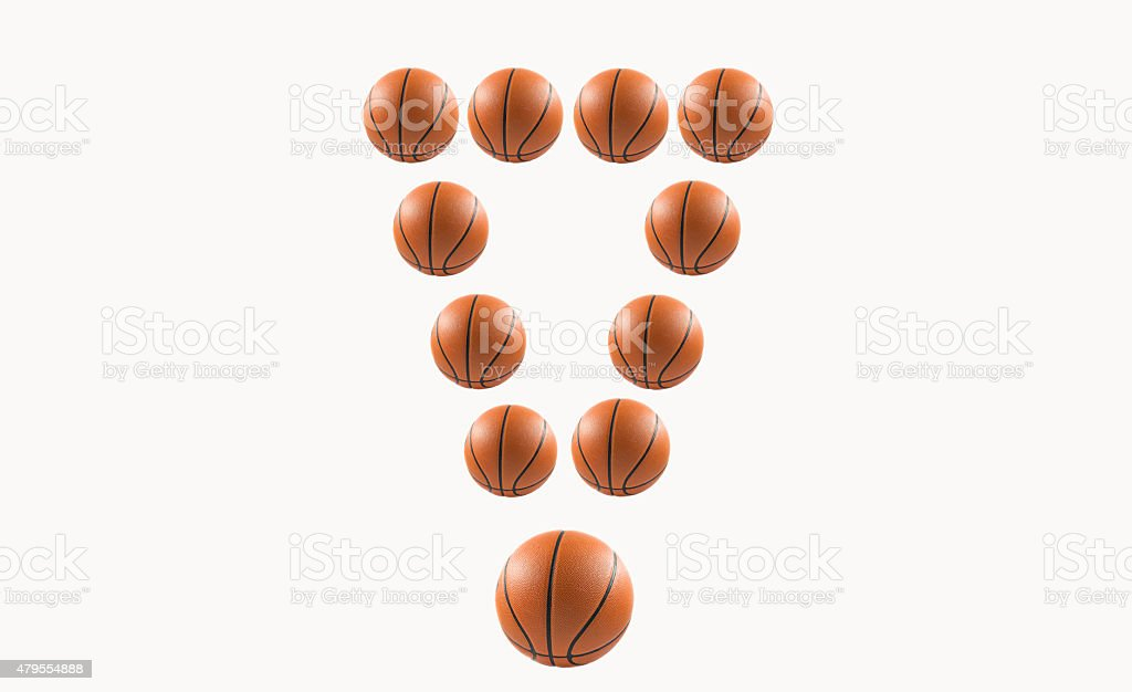 Exclamation mark with basketball isolate on white background stock photo