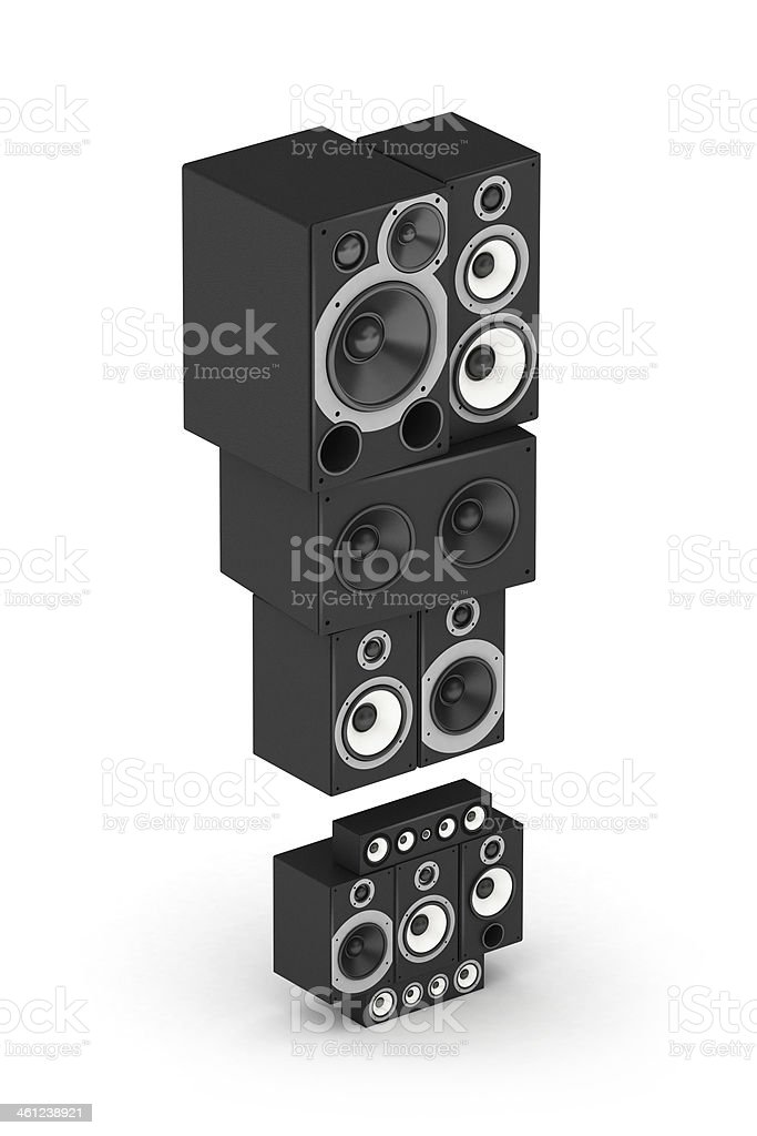 Exclamation point from speaker in isometry stock photo