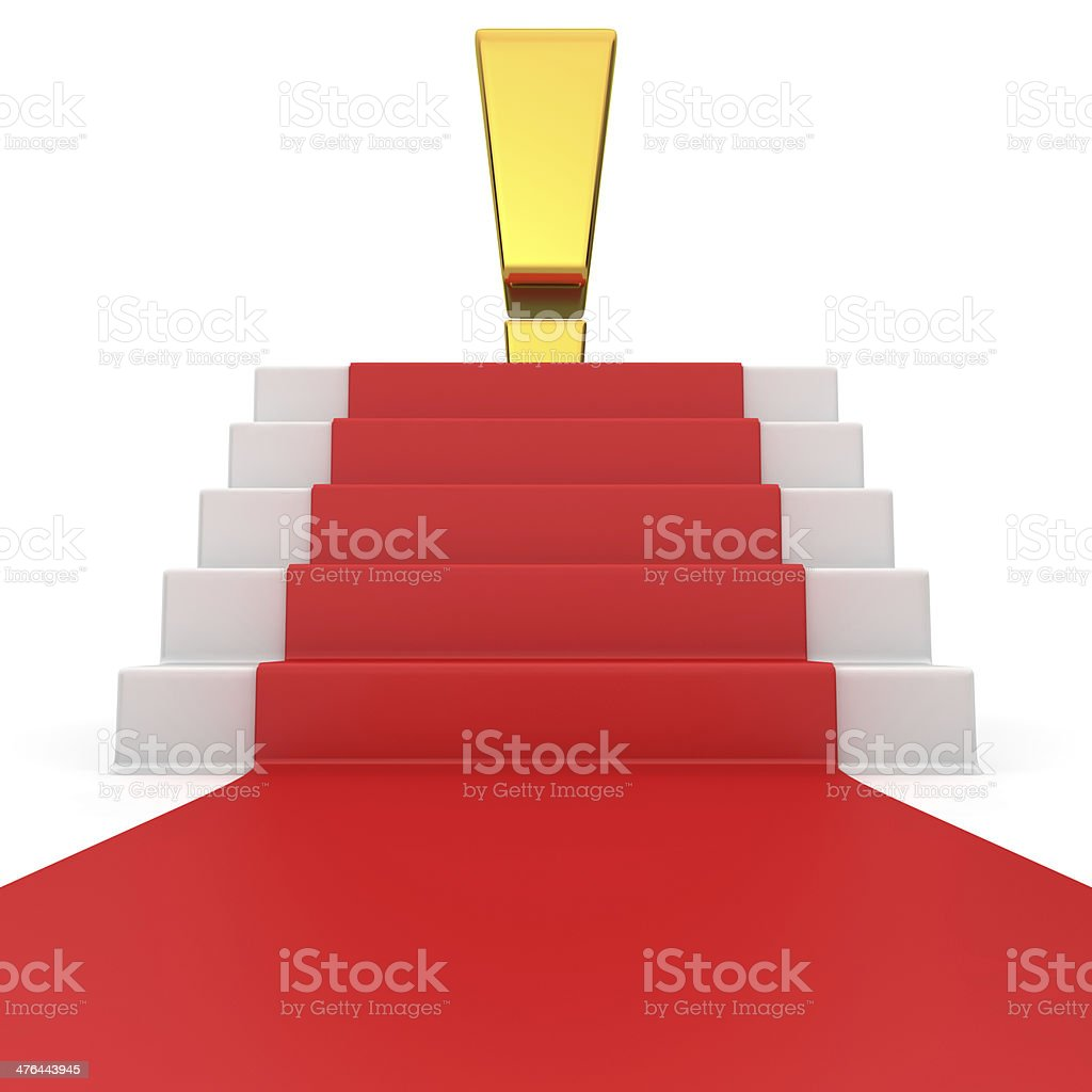 Exclamation sign on red carpet royalty-free stock photo