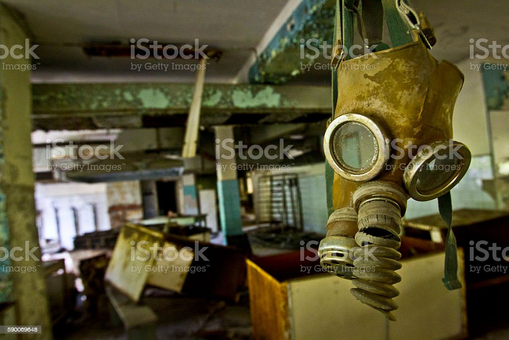 Exclusion Zone. Chernobyl. Pripyat. Ukraine. Radiation mask in a stock photo