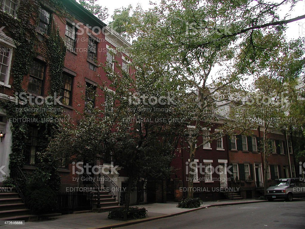 Exclusive Grove St neighborhood in the West Village NYC stock photo