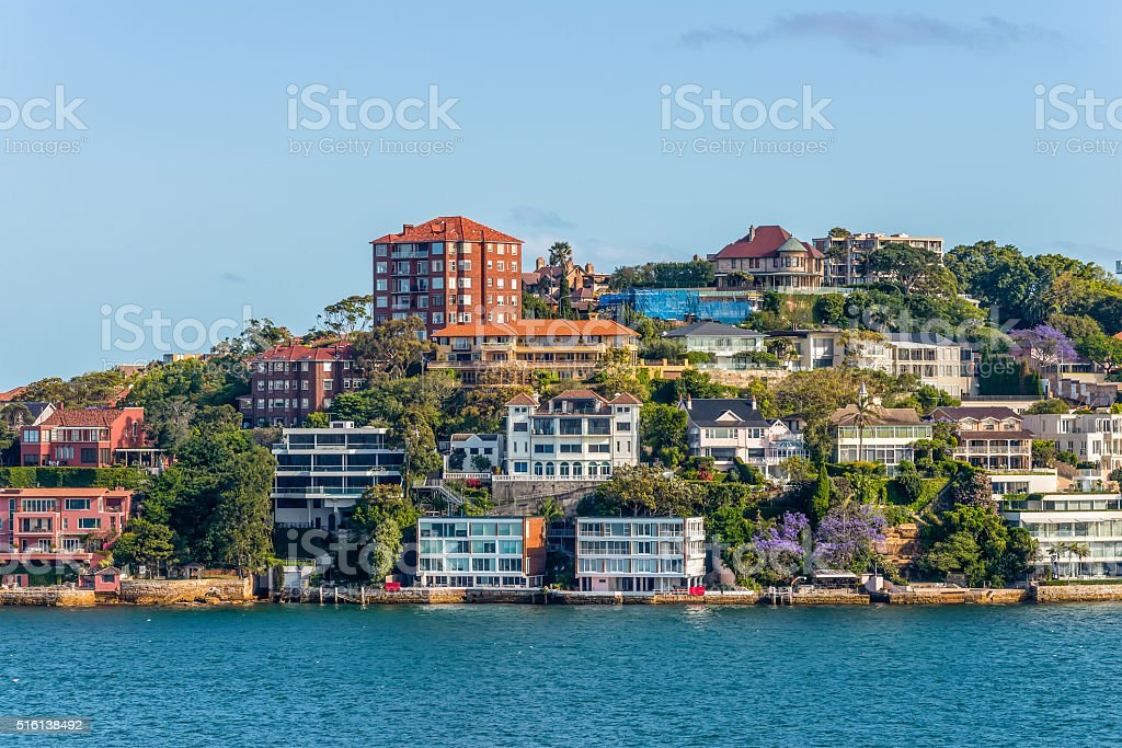 Exclusive homes along Sydney Harbor stock photo