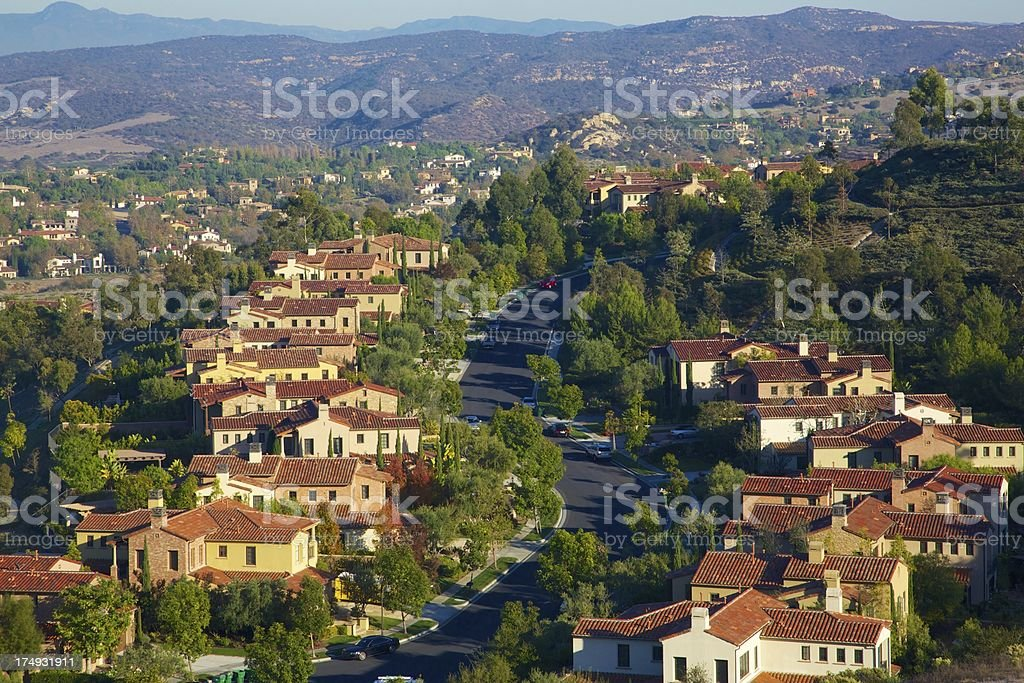 Exclusive neighborhood in the canyon stock photo