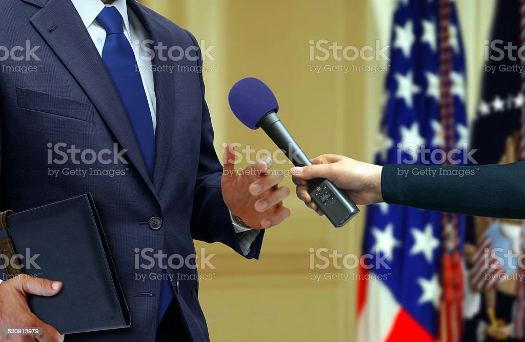Exclusive Press Interview with a Politician stock photo