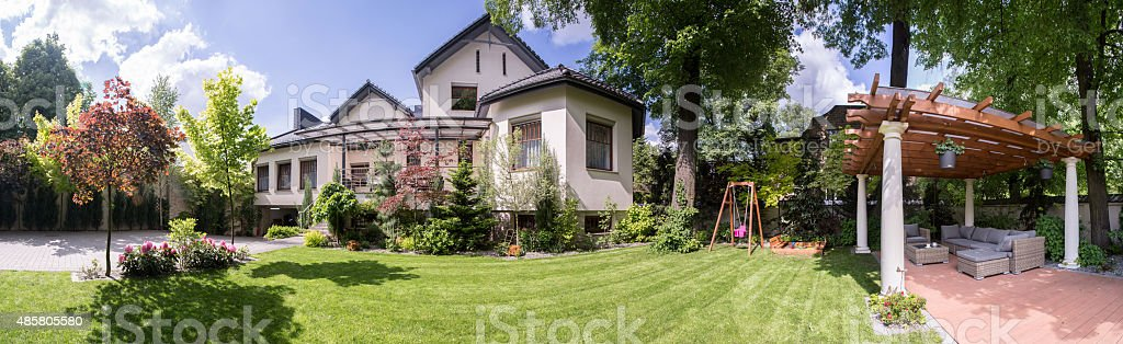 Exclusive residence with beauty gazebo stock photo
