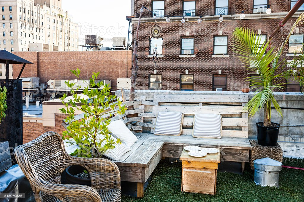 Exclusive Rooftop in the East Village in New York stock photo