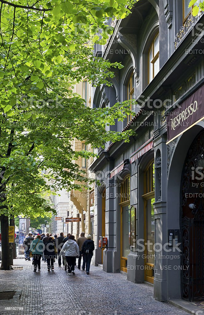 Exclusive Shopping Street in Prague stock photo