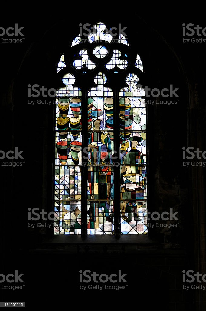 Exclusive stained glass window stock photo