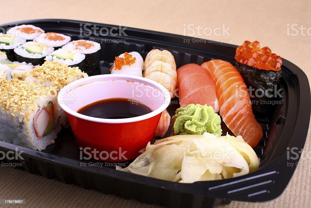 Exclusive sushi menu in your Delivery royalty-free stock photo