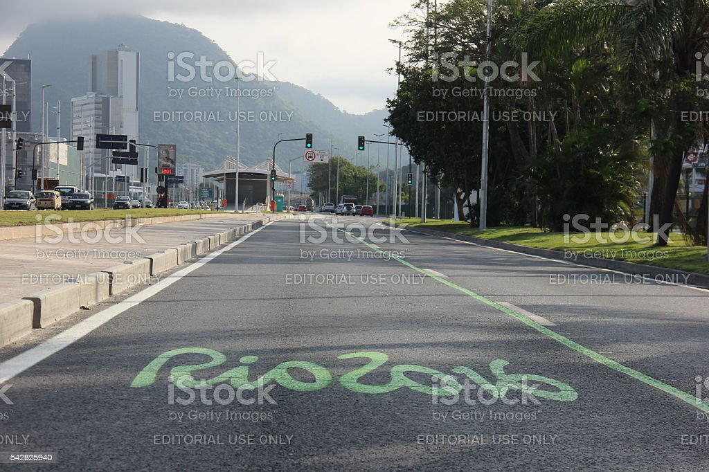 Exclusive tracks change Rio vehicle traffic for Rio 2016 stock photo