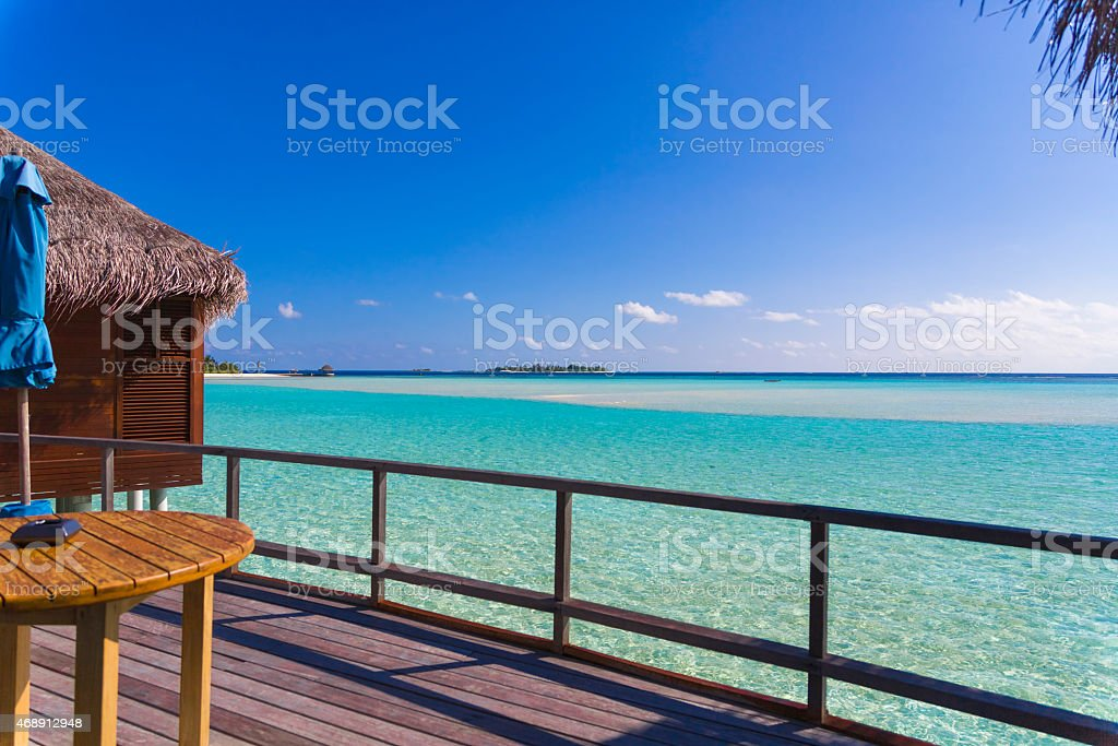 Exclusive View From Over Water Bungalow in the Maldives stock photo