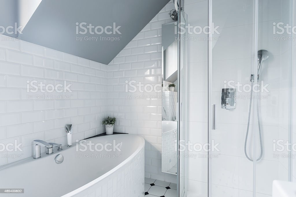 Exclusive white bathroom stock photo
